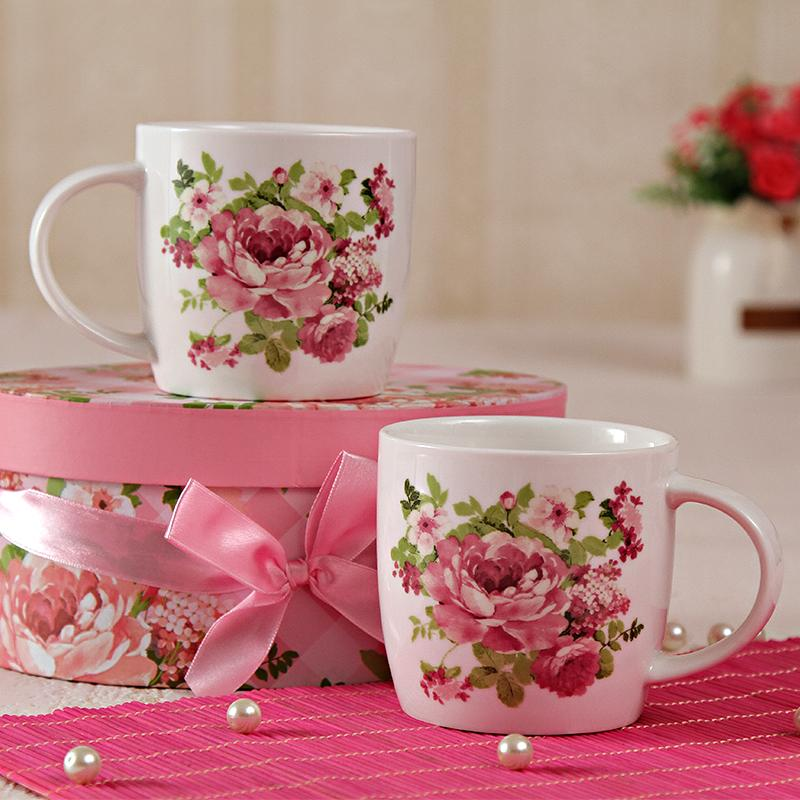 Floral Printed Two Mugs Set With a Gift Box