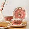 Flower Patterned Ceramic Cup and Saucer Set of 2