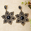 Flower Shape Gold Black Earrings