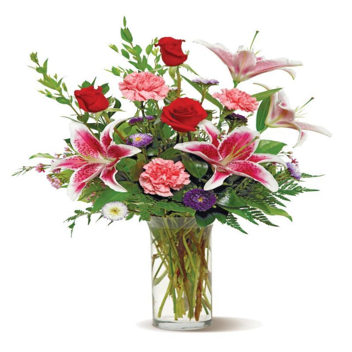 From the Garden Assorted Flowers Glass Vase Arrangement