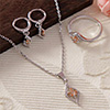 Glamorous Floral Pendant Set with a Ring