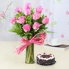 Glass Vase of 10 Pink Roses with Half Kg Round Black Forest Cake