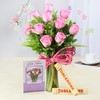 Glass Vase of 10 Pink Roses with Toblerone & Greeting Card