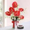 Glass Vase of 12 Assorted Flowers with Round Black Forest Cake