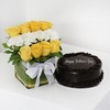 Glass Vase of 12 Mixed Flowers with Half Kg Dark Chocolate Cake