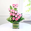 Glass Vase of 12 Pink Roses