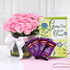 Glass Vase of 12 Pink Roses with Cadbury Dairy Milk & Greeting Card