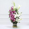 Glass Vase  of 5 Purple Orchids & 3 Lilies