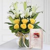 Glass Vase of Roses & Lilies with Card For Dad