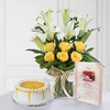 Glass Vase of Roses & Lilies with Half Kg Butterscotch Cake & Card
