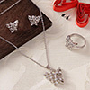 Glitzy Butterfly Pendant Set with Ring