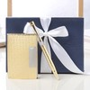 Gold Gift Set of Card Holder and Pen