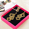 Gold Plated Bracelet and Earrings in a Gift Box