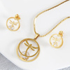 Gold Plated Dragonfly Pendant Set With CZ Stones