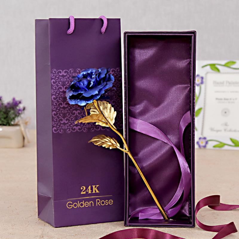 Gold Plated Rose with Blue Petals