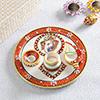Gold Work Ganesha Marble Pooja Thali