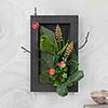 Grass Sculpture Sparrow on an Artificial Plant In A Wooden Frame