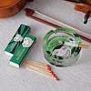 Green Printed Glass Ashtray & Matchbox Set
