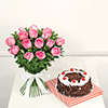 Half Kg Black Forest Cake with a Bunch of 12 Pink Roses