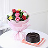 Half Kg Round Chocolate Cake with a Bunch of 10 Mix Roses