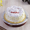 Half Kg Round Vanilla Cake with Cream Flower Topping