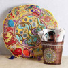 Handcrafted Patchwork Pouffe with Iron Balti Style Utility Basket