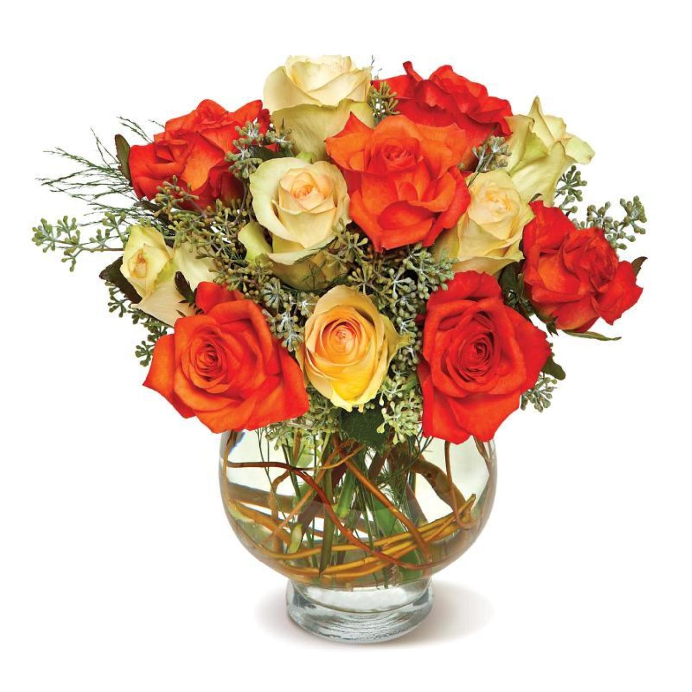 Harvest Moon Roses in a Glass Vase