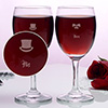 Hat and bow Personalized set of two wine glasses