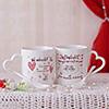 Heart Handle Doodled Mug Set of 2