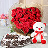 Heart Shaped 25 Red Roses & 1.5 Kg Black Forest with Teddy