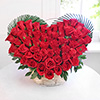 Heart Shaped Basket of 50 Red Roses for your Loved Ones