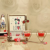 Heart Shaped Candle Stand with Candles and a Photo Frame