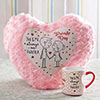 Heart Shaped Cushion with Mug for Promise Day