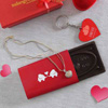 Heart Shaped Pendant with Key Chain & Love Chocolate In a Gifting Box