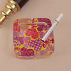 Hearts Print Square Glass Ashtray