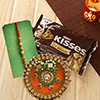 Hersheys Kisses Milk Chocolates with Graceful Rakhi in Puja Thali