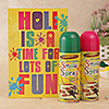 Holi Greeting Card with Spray Color
