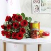 Holi Gulal with Gulab Jamun and Red Roses