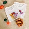 Holi Man Personalized Tshirts (set of 2) with Gulal and Gujiya
