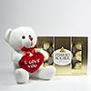 I Love You Teddy Bear with Ferrero Rocher Box - 12 pcs