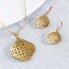 Jaali Work Square Gold Plated Pendant Set