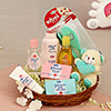 Johnsons Baby Products with a Cute Teddy Key Chain Hamper
