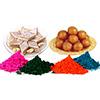 Kaju Barfi with Gulab Jamun and 4 shades of Gulal