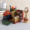Kundan Meenakari Marble Table Clock with Wooden Desktop Organiser
