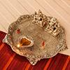 Laxmi Ganesha Metal Thali with Diya