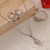 Leaf Designed CZ Stone Studded Pendant Set with a Ring