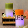 LED Green & Orange Scented Candles In A Bamboo Box