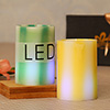 LED Green & Yellow Pillar Scented Candles In A Gift Box