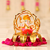 Lord Ganesha Idol On Flower Chariot
