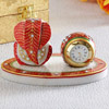 Marble Clock with Ganesha Statue